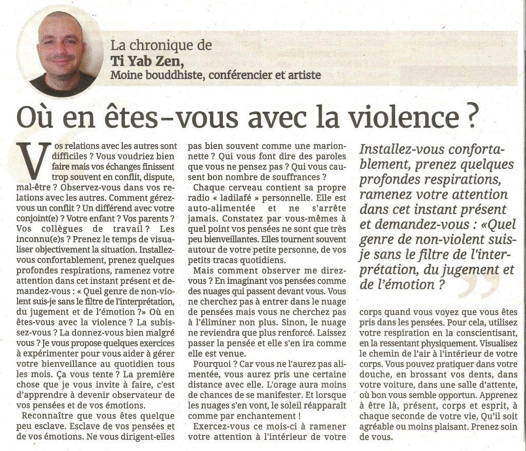 La chronique de presse de TI YAB ZEN sur la violence dans le journal de l'île de la Réunion; paix; bienveillance;solution
