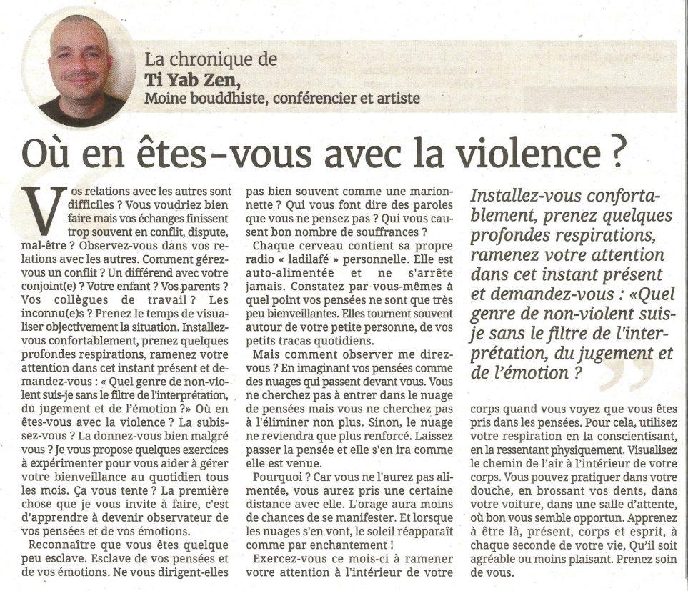 Où en êtes-vous avec la violence ?