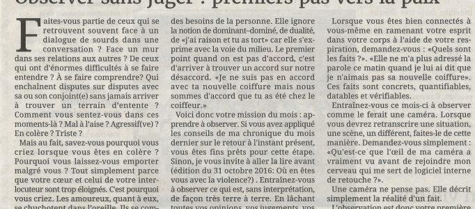 La chronique de TI YAB ZEN dans le journal de l'île de la Reunion: premiers pas vers la paix